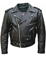 Leather Supreme Men's Tall Size Buffalo Hide Leather Motorcycle Jacket