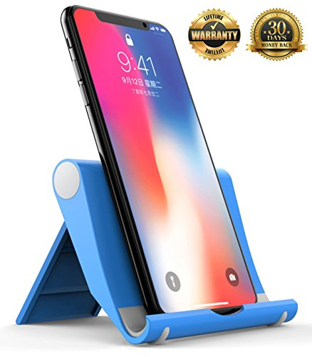 Flyeri Portable Multi-Angle Stand for Tablets, Multi-Angle Universal Phone and Tablet Stand for iPhone X/8/8 Plus/7/7 Plus, Samsung Galaxy S8/S7/Note 8, iPad Pro 9.7/10.5, Air, mini and More (blue)