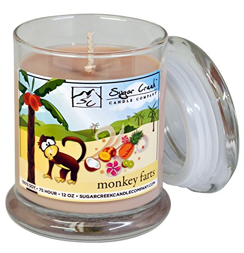 - Sugar Creek Candles | Monkey Farts (Tropical Fruit Medley) | 100% Natural Soy Wax, Non-Toxic | Made in USA |  75-Hours Burn Time (12 oz. Heavy Glass)