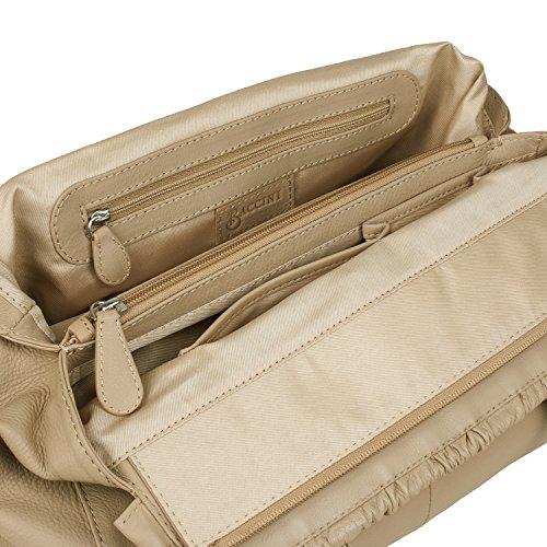 BACCINI Handtasche MILANO - Henkeltasche - Damentasche mit eleganter Schleife - echt Leder grau Beige OkD9YwQFW