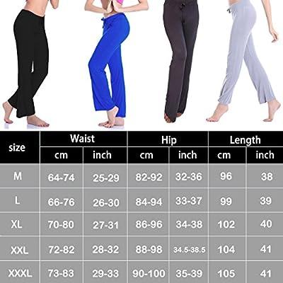 FITTOO Women Lounging Palazzo Pajama Pants Soft Comfortable Yoga Pants with Adjustable Drawstring