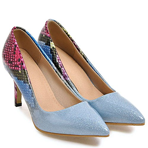 VIMISAOI Wedding Stiletto Prom Pumps Women Shoes Party Blue Pointed Sexy Crystal Toe Heel High ffwqPanx5r
