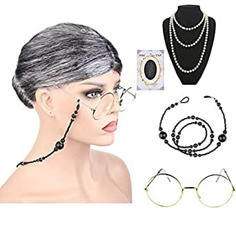 Amazon.com: Old Lady Cosplay Set Abuela Peluca Abuela Gafas ...