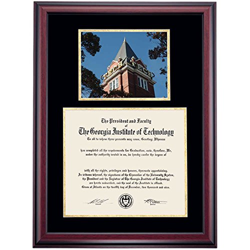 Campus Linens Georgia Tech Yellow Jackets Diploma Frame Black Gold Matting Photograph (Georgia Tech Diploma Frame)