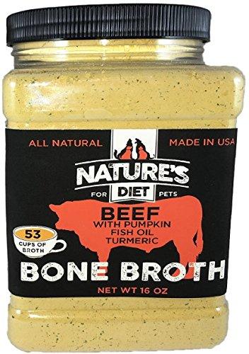 Nature's Diet Pet Bone Broth Powder with Pumpkin, Fish Oil and Turmeric - Beef, 16 oz = 159 Servings