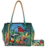 Anushcka Ex Large Multi-Compartment Convertible Laptop Tote Handpainted Leather (Tropical Bliss)