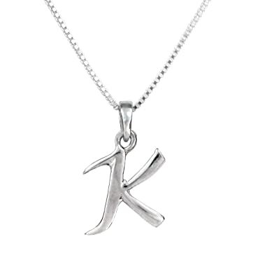Amazon sterling silver initial charm necklace letter k 16 sterling silver initial charm necklace letter k 16quot aloadofball Image collections