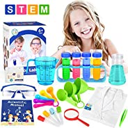 ELOVER Kids Science Experiments Kit with Lab Coat Scientist Costume Dress Up Pretend Play Toys Set for Boys Gi