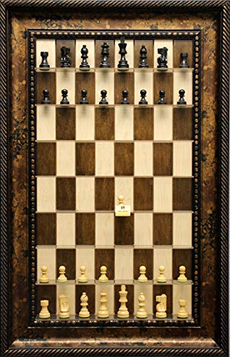 Simple Staunton chess pieces on vertical wall mounted Maple Nut Series Straight Up Chess board with the Black Gold Frame (Straight Up Chess Board)