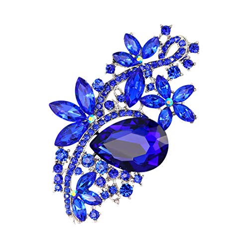 Fiona Jolin Rhine Stone Crystal Flower Leaf Brooch Pin (Blue Silver) ()