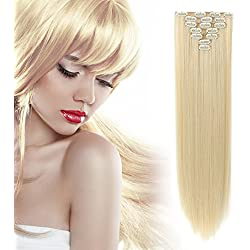 "OneDor 20"" Curly or 24"" Straight Full Head Kanekalon Futura Heat Resistance Hair Extensions Clip on in Hairpieces 7pcs 140g (613# Pre Bleach Blonde)"