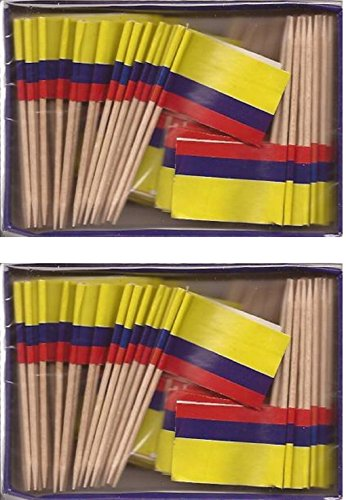 2 Boxes of Mini Colombia Toothpick Flags, 200 Small Mini Colombian Flag Cupcake Toothpicks or Cocktail Sticks & Picks for $<!--$9.95-->