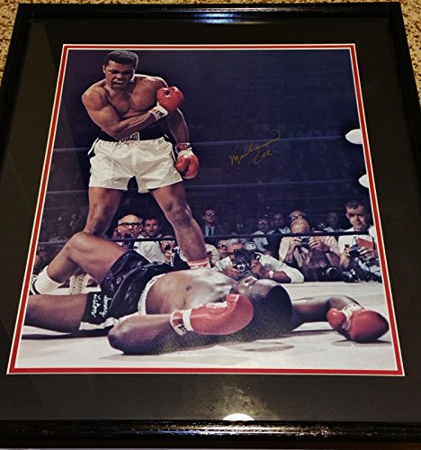 Muhammad Ali Signed Photo (Signed Muhammad Ali Photo - Vintage gold 16x20 Cassius Clay KO Sonny Liston - JSA Certified - Autographed Boxing Photos)