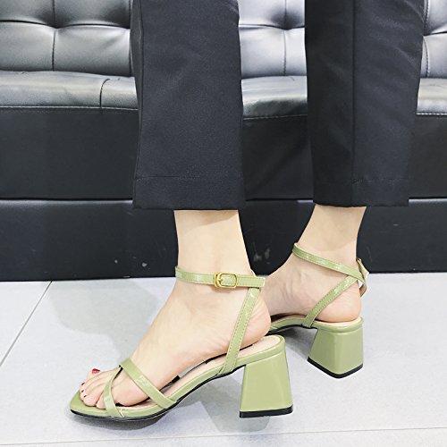 de pie de UE C YMFIE Abierta señoras Zapatos Cruzada Verano Casual de Dedo Sandalias Correa del la de Moda tacón Aire al Las Alto Libre Correa 38 4T4nrxF