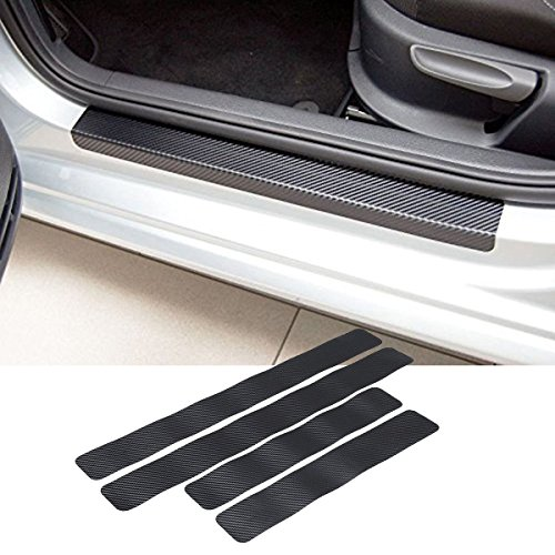 (4pcs Car Door Sill Scuff Welcome Pedal Protect Carbon Fiber Stickers For Dodge Ram AVENGER CHARGER DART CHALLENGER Durango For JEEP Cherokee Patriot Wrangler)