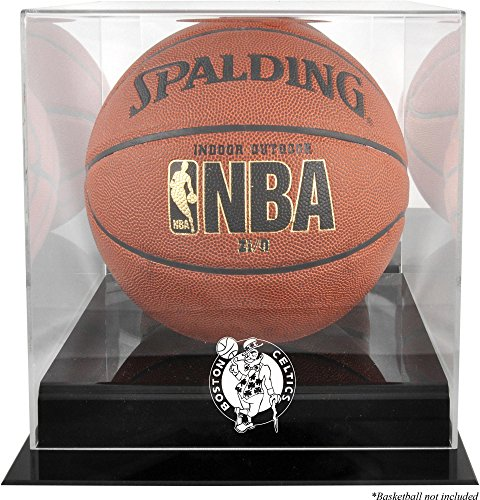 - Sports Memorabilia Boston Celtics Blackbase Team Logo Basketball Display Case with Mirrored Back - Basketball Displays