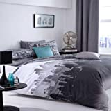 Catherine Lansfield CityScape Duvet Set Blue King Bed Size sold by Katie Malone