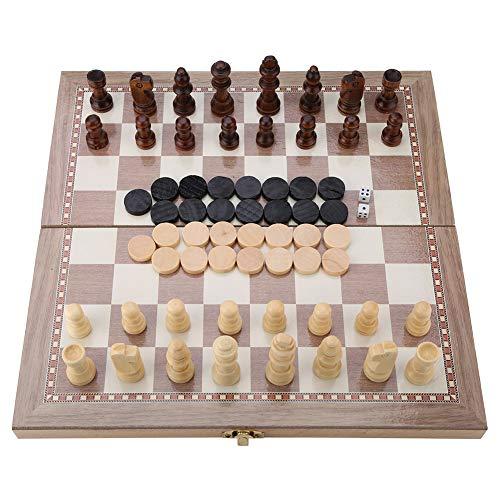 Tablero de Viaje Portátil de Viaje 3 En 1 de Ajedrez y Damas y Tablero Plegable de Backgammon