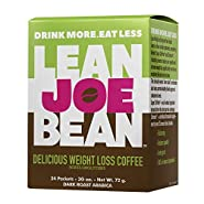Lean Joe Bean Instant Coffee | from The Star Trainer on The Biggest Loser | Slimming & Detox Cleanse Blend | Keto Friendly Bulletproof Coffee | Dark Roast Arabica Coffee