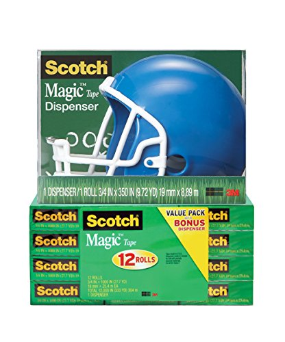 Scotch Magic Tape with Blue Football Helmet Dispenser, 3/4 x 1000 Inches, 12 Rolls, 1 Dispenser ()