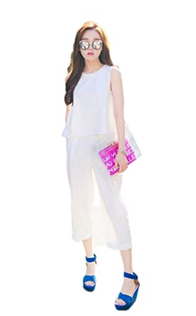 946c45f60fc Women s 2 Pieces Spaghetti Pencil Striped Outfits Jumpsuit Crop Sleeveless  Tops and High Waist Pants Set