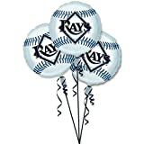 "Amscan Exciting Tampa Bay Rays Balloons Party Decoration (3 Pack), 18"", Silver"