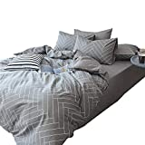 Reversible Chevron Striped Duvet Cover Set King 3 Piece Cotton Bedding Set Hotel Quality Grey Geometric Duvet Comforter Cover Set Modern Soft Luxury Bedding Collection Cotton King Bed