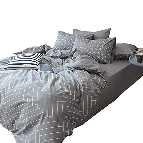 Reversible Chevron Striped Duvet Cover Set King 3 Piece Cotton Bedding Set Hotel Quality Grey Geometric Duvet Comforter Cover Set Modern Soft Luxury Bedding Collection Cotton King Bed by LifeTB