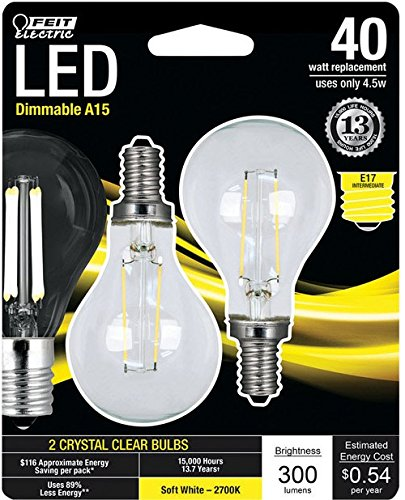 Feit Electric BPA1540N/827/LED/2 40W Equivalent Clear A15 Soft White Dimmable Intermediate Base LED Light Bulb (2 Pack)