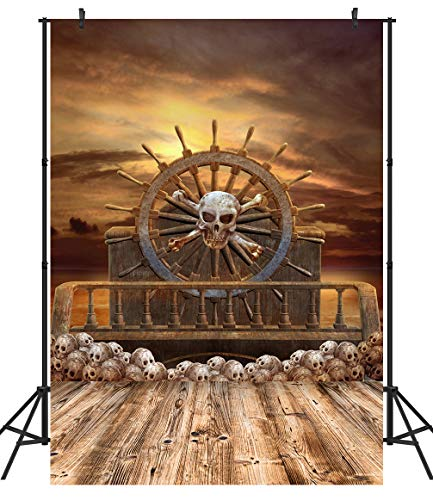 Halloween Horror Nights Commercial (Duluda 5X7ft Halloween Backdrop Wooden Wheel Pirate Ship Skulls Horror Night Photography Background Photo Studio Props)