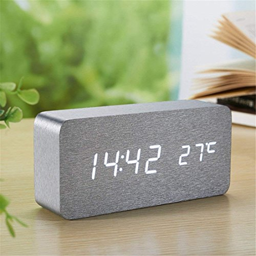 Wooden Clock Digital LED Alarm Clock Electronic for Bedrooms Bedside Wake-Up, 12/24 Hour 3 Alarm Settings, Battery Operated USB Powered Sound Control, Time Date Temperature Displayed. (Silver white)
