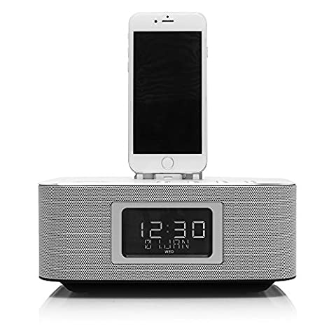 Richsound Research (RSR) DS406 Docking Speaker with Bluetooth (Lightning Connector, Dual Charging, Dual Alarm, FM Radio, Excellent Sound Quality with Strong Bass, Aluminum Alloy Panel) - Iphone Dock Stereo