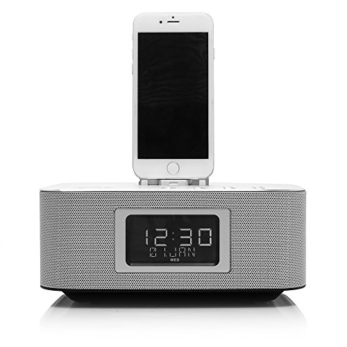 Richsound Research (RSR) DS406 Docking Speaker with Bluetooth (Lightning Connector, Dual Charging, Dual Alarm, FM Radio, Excellent Sound Quality with Strong Bass, Aluminum Alloy Panel) Silver