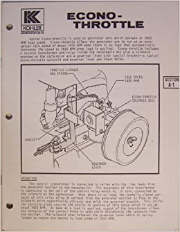 Kohler Generator Sets - Econo-Throttle Operation Manual ... on kohler valve, kohler compressor, kohler ignition wiring,