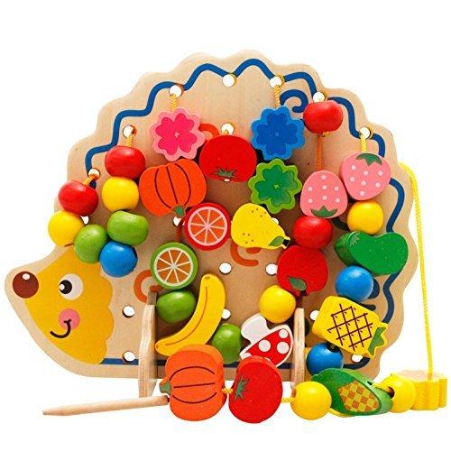 Hedgehogスレッド化Lacing Beads Fineモータースキルゲーム木製玩具