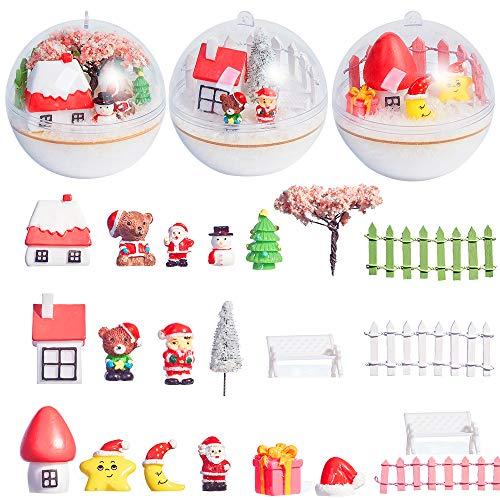 N&T NIETING Christmas Miniature Ornaments Kit with 80mm Xmas Clear Ball Christnas Miniature Fairy Garden DIY Gift Set Snow Home Mini Garden Decoration