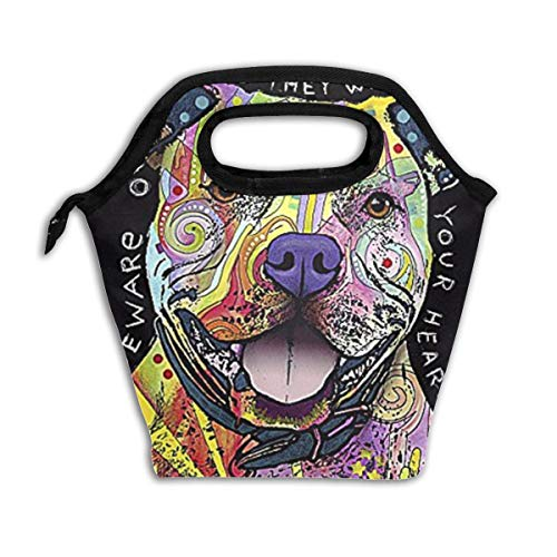 Beware of Pit Bulls They Will Steal Your Heart Reusable Insulated Lunch Bag Cooler Tote Box with Zipper Closure for Woman Man Work Pinic Or Travel ()