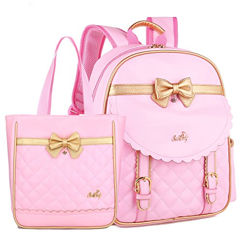 Waterproof Pu Leather Backpacks for Girls Cute Bowknot Kids Bookbags (Backpack + Handbag, Pink Set S)