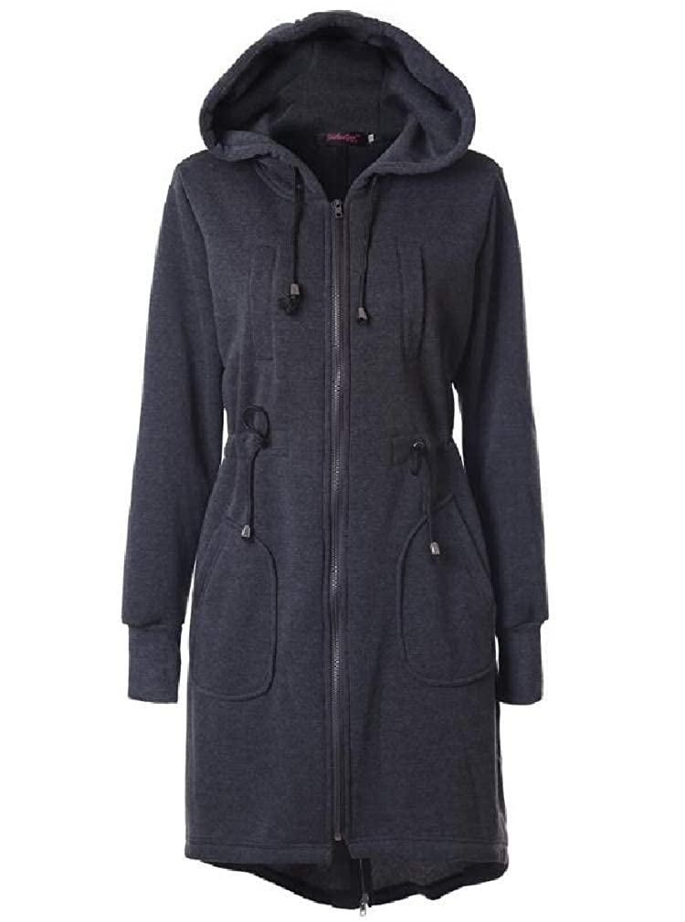 Cromoncent Womens Casual Hooded Drawstring Zipper Pocket Sweatshirt Jacket Coat