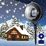 RED-EYE LED Outdoor Snowfall Christmas Lights Remote Control Snow Falling Light Projector Snowflake Holiday Light Waterproof Outdoor Decorations Lighting for Home Yard Garden
