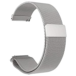 Stainless Steel Mesh Bracelet Watch Band Magnetic Watch Strap Watch Replacement for Xiaomi Amazfit Bip Youth Watch Silver
