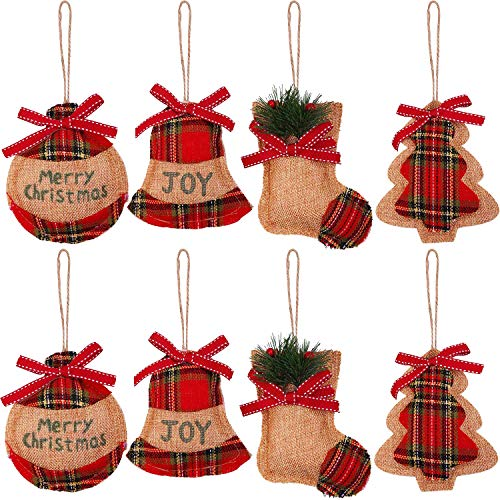 AgeXinjo 8 Pcs Christmas Tree Ornaments Burlap Country Christmas Tree Decorations Christmas Stocking Tree Ball Bell Shoes Plaid Tartan for Holiday Party Decor (Country Style Christmas Trees)
