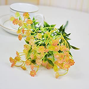 FYYDNZA Artificial Flower Bouquet Home Wedding Table Party Decoration Fake Gypsophila Blue Purple Orange,Oranje 4