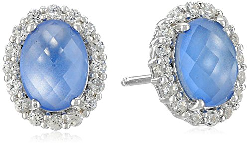 Sterling Silver Blue Chalcedony with Created White Sapphire Halo Stud Earrings (Earrings Topaz Chalcedony Blue)