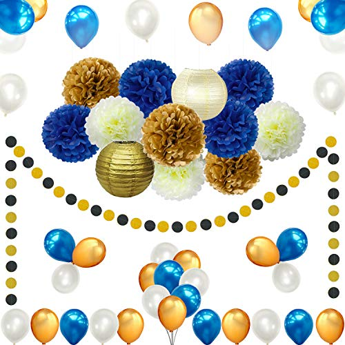 45pcs DIY Navy Blue Gold Party Decorations Supplies