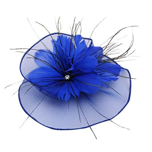Napoo-Hat Women Mesh Feather Pearls Flower Cocktail Party Headdress Wedding Bridal Headpiece (Blue) ()