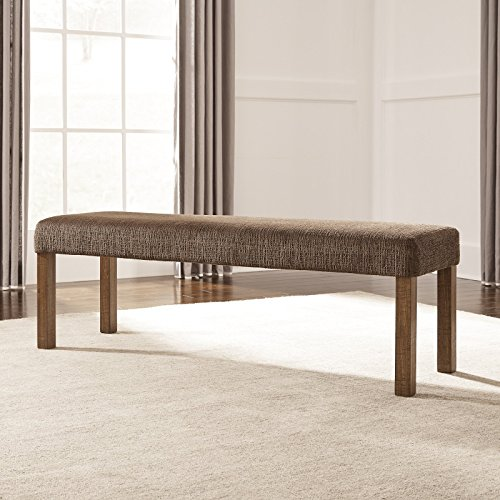 Upholstered Dining Bench, Soft and Stylish, This Dining Bench is a Great Pairing for Any Dining Table, This Upholstered Dining Bench Features Straight Wood Legs with a Warm Brown Finish