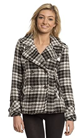 Dollhouse Classic Wool Blend Double Breasted Short Pea Coat with Pop Print Lining (L, Coco Plaid)