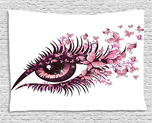 Ambesonne Butterflies Tapestry, Fairy Female Eye with Butterflies Eyelashes Mascara Stare Party Makeup, Wall Hanging for Bedroom Living Room Dorm, 60 W X 40 L Inches, White Pink (Butterfly Eye)