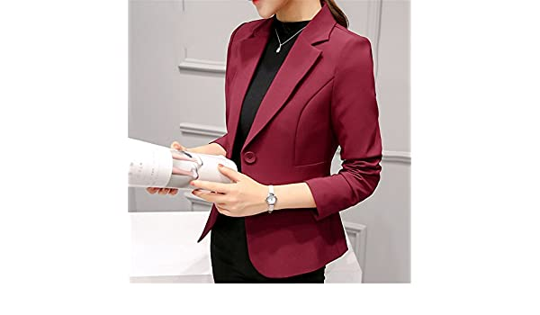 Beautface Makeup Women Autumn Winter Formal Jacket Rosa Female Claret Women Suit Office Plus Size 297RX at Amazon Womens Clothing store: